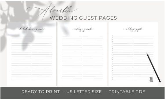 picture about Printable Guest Book Pages called Printable guestbook internet pages, Lovable Wedding day Al internet pages, black white wedding day ebook web pages, marriage magazine pdf, electronic down load, 2-W805