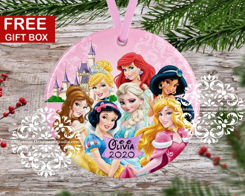 Disney Princesses Christmas Ornament-Princess Christmas Ornament-Disney Christmas ornament-Personalized Christmas ornament kids