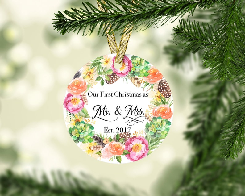 Christmas Ornament-Our First Christmas Ornament-Porcelain Christmas Ornament-Newlywed Christmas Gift-Personalized Christmas Ornament