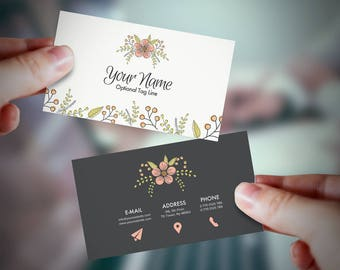 Printable, Premade Business Card, Business Card Design, Business Card Template, Custom Business Card, Personalized business card, Floral.