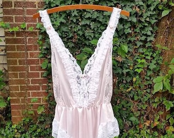 4db929f945d93 Vintage 80's Tosca Lingerie of California/ Vintage 80's Pink Teddy Lingerie/  White Lace Pink Roses/ Snap Crotch
