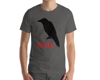 Crow END. Raven Mens Short Sleeve T Shirt Gothic Bird Vintage  Magic Stencil Inspirational Witch Harry Potter Tarot Deck