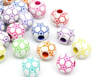 Beautiful high quality 12mm resin round FOOTBALL beads - you get 50