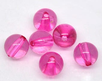 Beautiful high quality 8mm resin round pink beads - you get 100