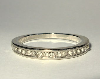 Half Eternity Ring with Faceted Glass Stones in Silver Plate - Stacking Ring