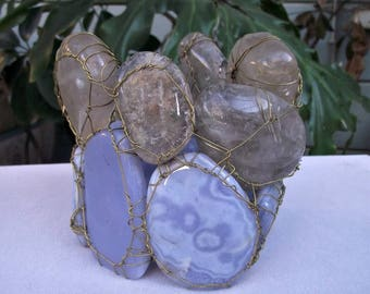 Blue lace Agate Candle Holder