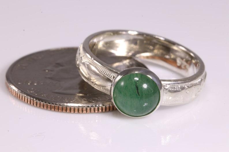Stacking Ring Sterling Silver Ring Round Ring Aventurine Ring Gemstone Ring 3-Ring Set Green Aventurine Solitaire Ring Silver