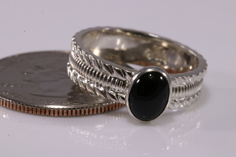 Black Onyx Ring Black Onyx Solitaire Ring Silver Sterling Silver Ring 3-Ring Set Oval Ring Stacking Ring Gemstone Ring