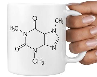 Caffeine Mug, Funny Gift, Science Teacher, Chemistry Teacher, Coffee, Geek Gift, Birthday Present