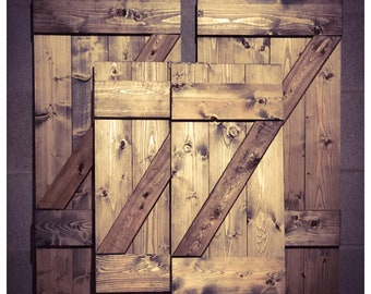 Rustic wood barn door shutters