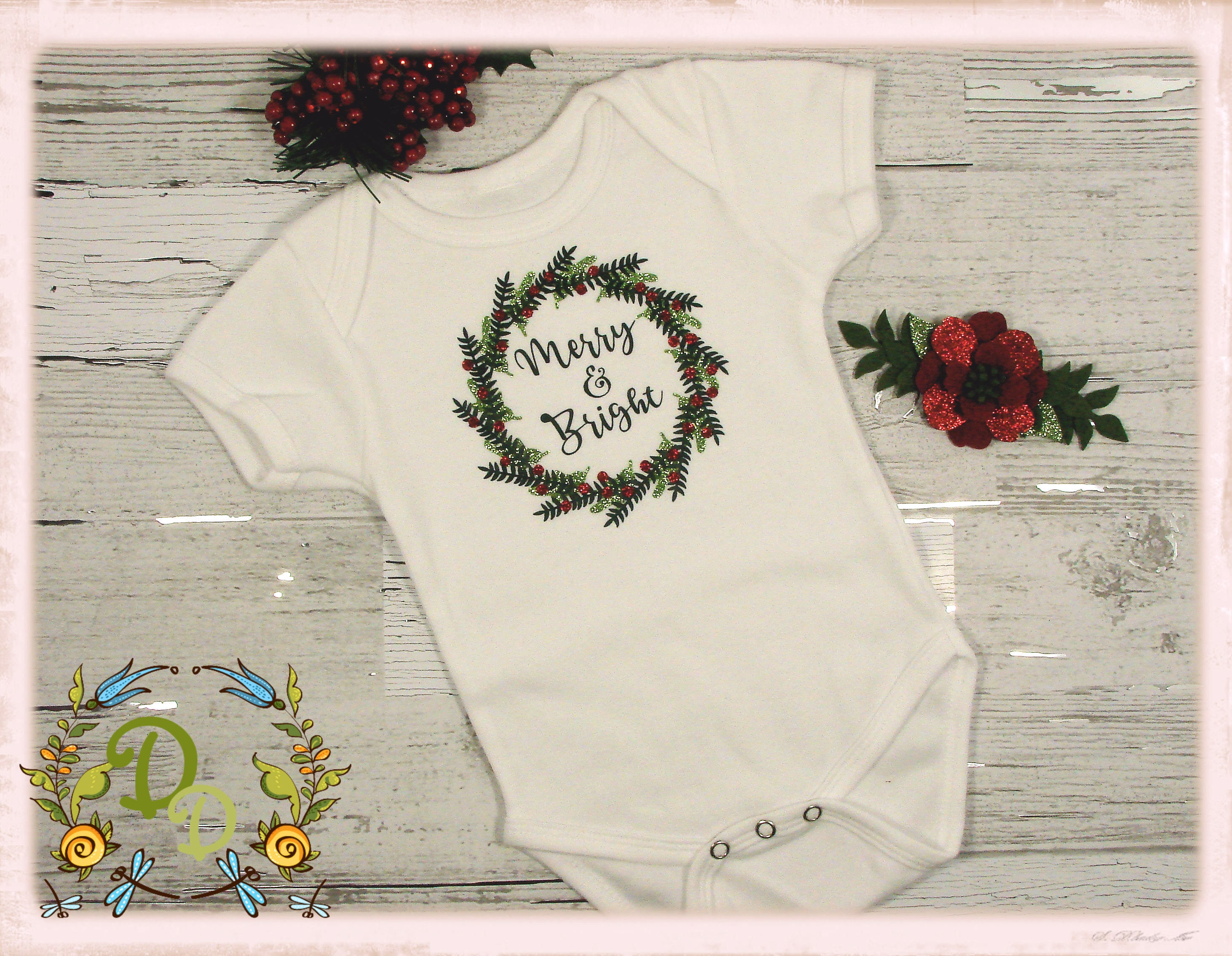 merry and bright onesie christmas onesie holiday onesie girls onesie newborn christmas baby christmas christmas bodysuit babys first