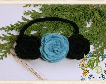 Felt Rose headband, Three Rose headband, Felt headband, Baby Felt headband, Holiday Felt Headband