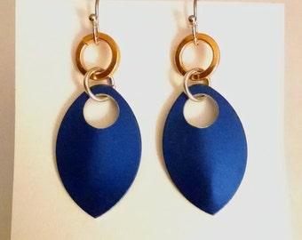 Dragon Scale Earrings - Blue and Orange