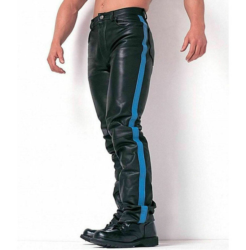 Men Hot Style Cow Leather Motorcycle Jeans Biker Trouser With Blue Strip