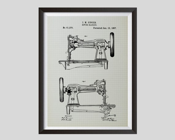 Antique Sewing Machine Patent Vintage Print Craft Room Wall Art Poster Decor