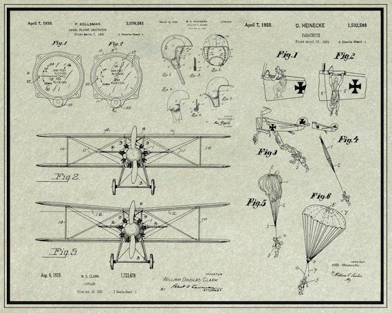 Biplane Patent PosterAirplane Patent ArtBlueprint ArtPatent Wall Art