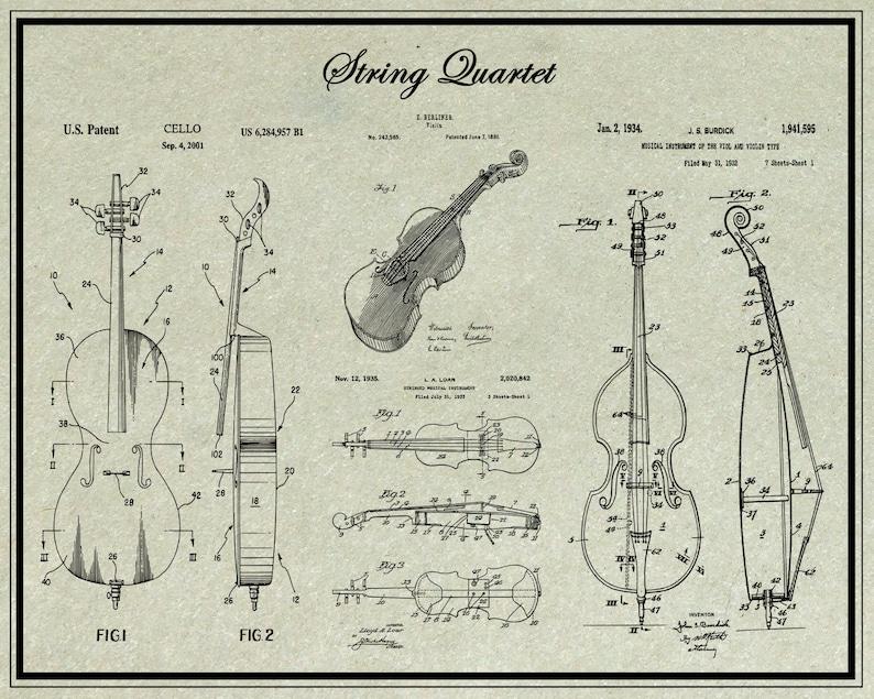 Orchestra, Violin Gifts, Cello, Viola, Patent Print, Violin Art, String  Quartet, US Patent, Music Room Decor, Music Gift, Classical Music
