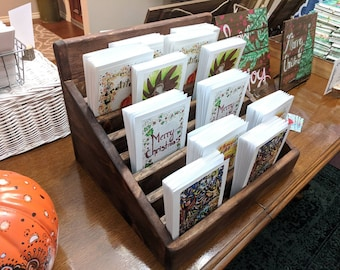 Slotted Media display stand | Greeting Card holder | Multiple colors | Made to order