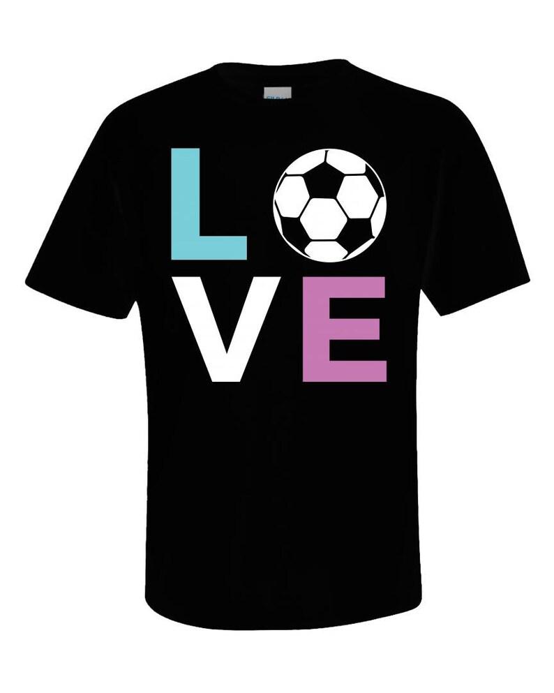 af638eede Unisex Soccer Player Tshirt LOVE & a Soccer Ball in pastel | Etsy