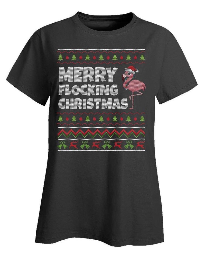Bird Lovers Birdwatchers Womens Flamingo Ugly Christmas Short Sleeve T-Shirt; Merry Flocking Christmas; Holiday Party Tee Shirt for Ladies