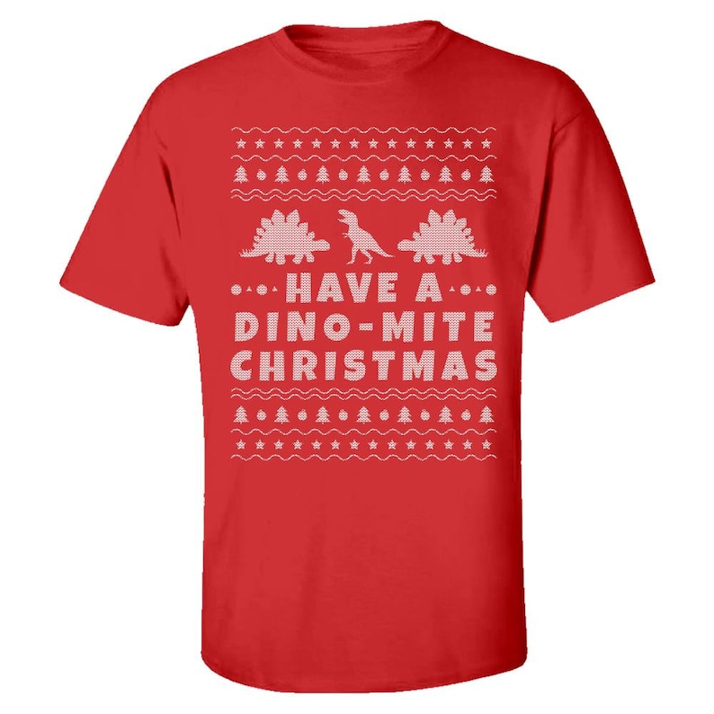 dc911064 Kids Dinosaur Ugly Christmas T Shirt T Rex and Stegosaurus | Etsy