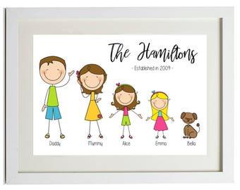 88a7685b Personalised Family Tree, Illustrated Family Tree, Family Portrait, Cartoon  Family, Stick Figure Family