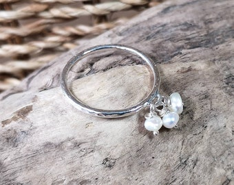 Personalised Initial Handmade Sterling Silver Heart Ring Rock and Feather