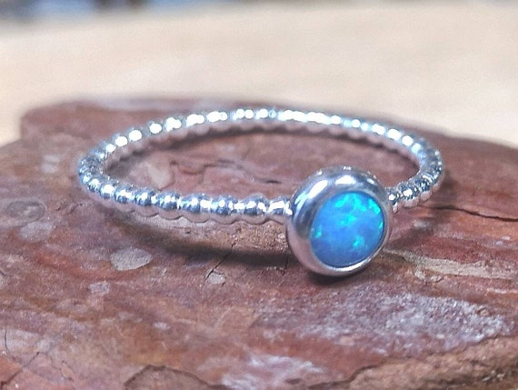 9ct Gold Filled Opal Ring Beaded Band October Birthstone Stacking Gemstone Ring