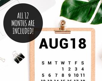 2018 Calendar, Desk Calendar PDF Download, Printable Calendar 2018, Digital Monthly Wall Calendar, Calendar Poster, 2018 Yearly Wall Planner