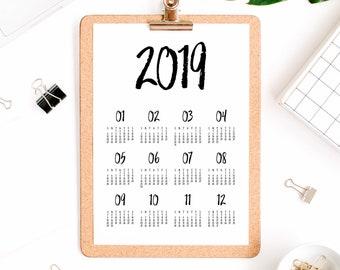 2019 Wall Calendar Printable Calendar 2019 Desk Calendar Pdf Etsy