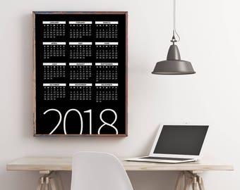 2018 Yearly Wall Planner, 2018 Calendar, Printable Calendar 2018, Desk Calendar PDF Download, Digital Monthly Wall Calendar, Calendar Poster