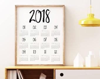 2018 wall Calendar, Printable Calendar 2018, Desk Calendar PDF Download, Monthly Calendar, Calendar Poster, 2018 Yearly Wall Planner
