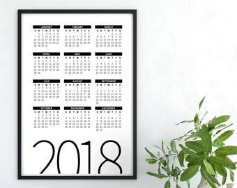 Calendar Poster, 2018 Calendar, Printable Calendar 2018, Desk Calendar PDF Download, Digital Monthly Wall Calendar, 2018 Yearly Wall Planner