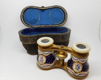 A pair of enamel opera glasses. c 1870