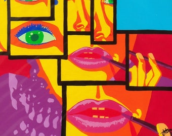 "Original mixed media painting ""Hepburn"" AJE pop"