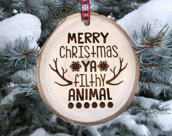 Wooden Christmas Ornament Ya Filthy Animal Personalized Gift Wood Slices Housewarming Macaulay Culkin Home Alone Make My Day
