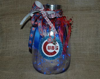 Lighted Chicago Cubs Glass Mercury Lamp with Blue Battery Operated LED Lights