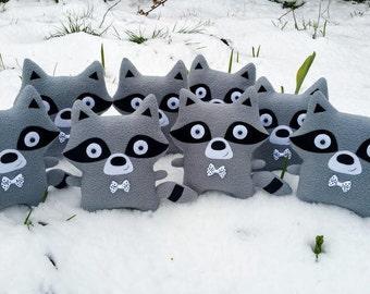 Raccoon plush toy, cute stuffed animal, soft toy for kids