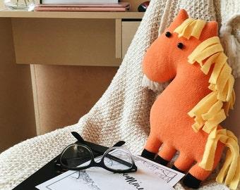 Horse stuffed animal, Plush toy handmade, Horse decor for girls room