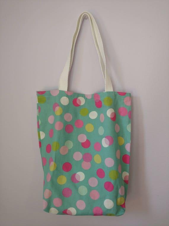 c6e2a27d9ead Medium Canvas Tote Bag Pink Polka Dots Pattern