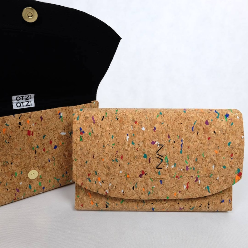 Clutch in colorful Cork  black lining image 0