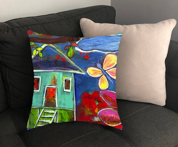 17x17 inches Colorful Pillow Accent Pillow Country Farmhouse Folk Art Decorative Pillow Cover Pillow Covers Whimsical Home Decor