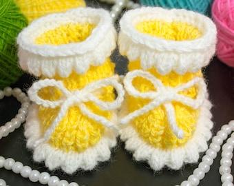 Baby Booties - Yellow Crochet Handmade babyshoes baby shower gift newbornbooties