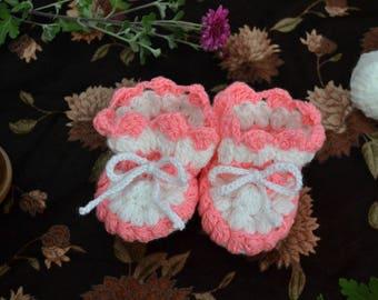 Baby Booties - Pink Antique