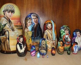 Unique museum quality 15 in 1 Nesting Dolls Russian Matryoshka STAR WARS