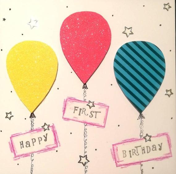 Baby Girl First Birthday Card Handmade Happy 1st