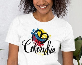 3d8d5ff3468 Beautiful Cute Love Colombia National Flag Art Colors Heart Silhouette XS  Extra Small Size Unisex T-Shirt