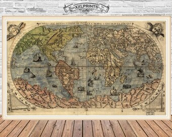 Antique world map at 1780 old map art deco fine antique map of the world at 1565 old map fine reproduction art deco vintage decor fine art print gumiabroncs Images
