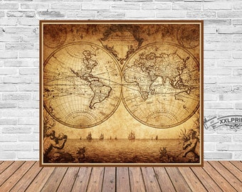 Antique world map etsy antique world map at 1780 old map art deco fine reproduction vintage decor beautiful gift fine art print gumiabroncs Gallery
