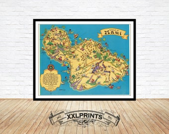 photograph relating to Printable Map of Maui referred to as Maui traditional map Etsy